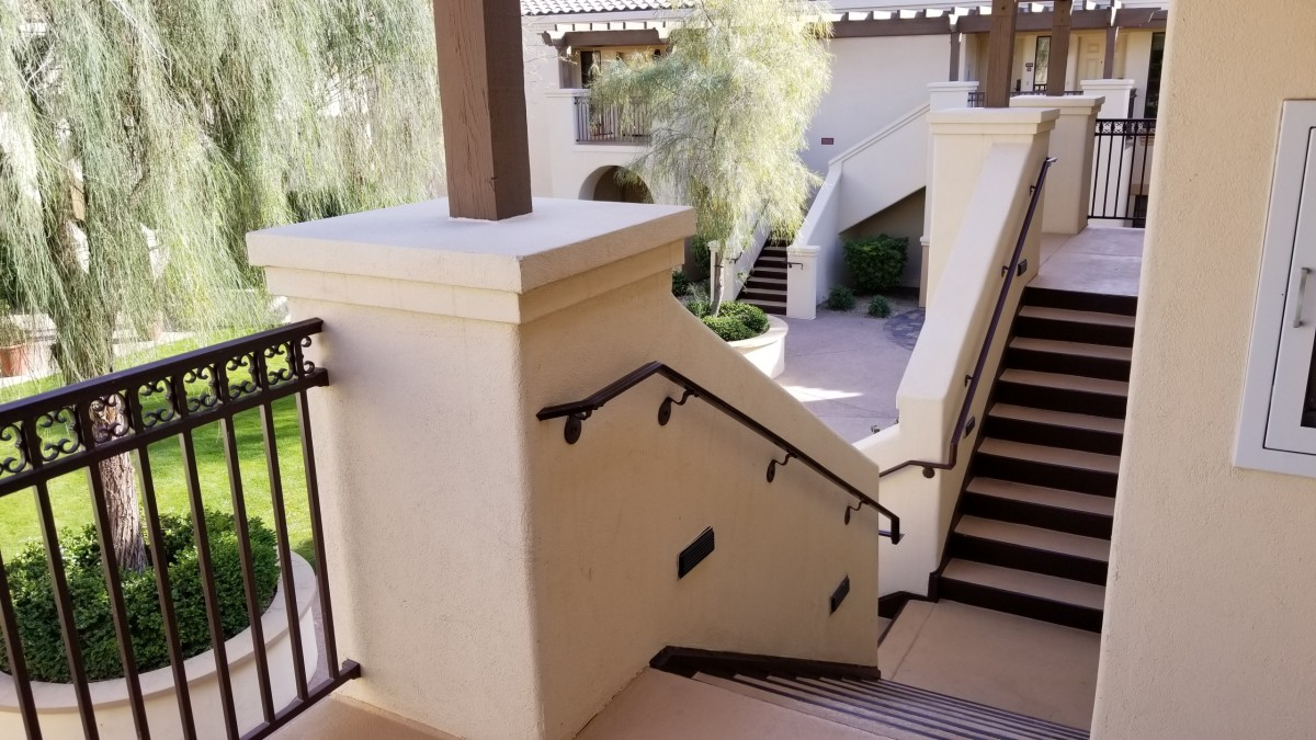 The front porch area and stairs leading up to our second floor room.