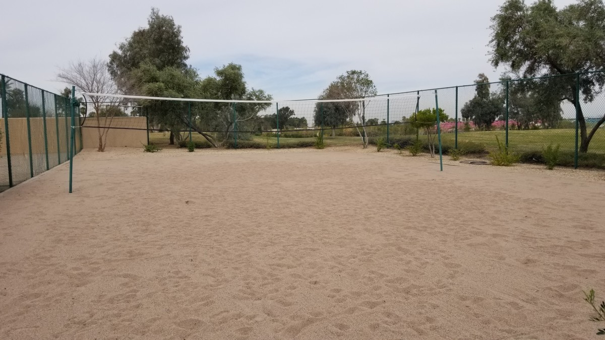There's also an outdoor volleyball court with real sand.