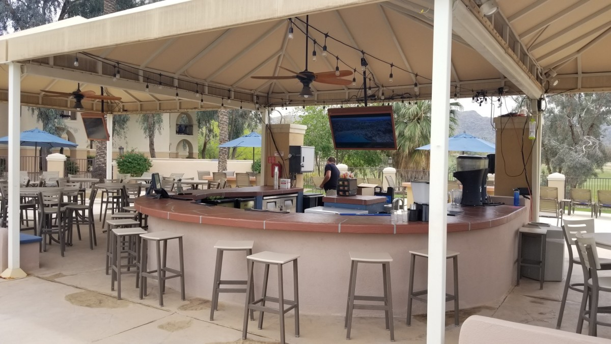 The outdoor cabana bar at the poolside is great!