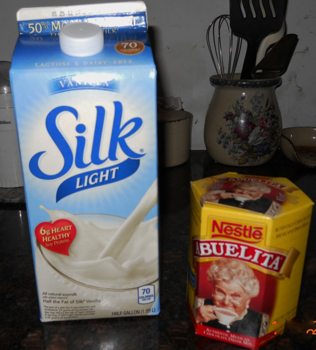 Silk Vanilla Soy Milk and Abuelita's Hot Chocolate Tablets