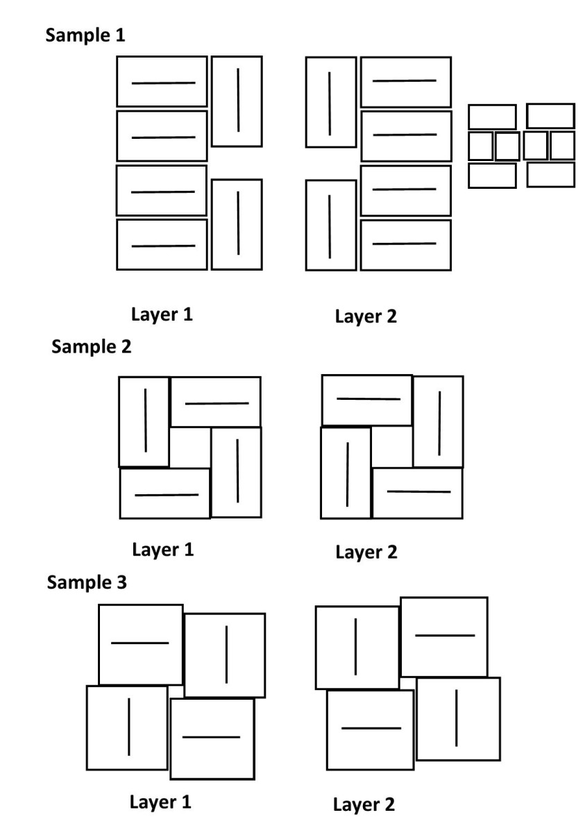Sample stocking patterns.  Use this as a guide if you are trying to make your own stocking patters and interlocks.