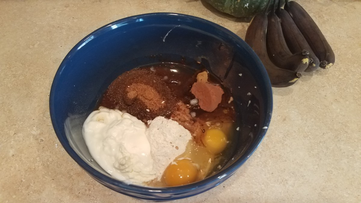 Now add you wet ingredients to the bowl. First i added my eggs, vanilla, and coconut oil (melted).