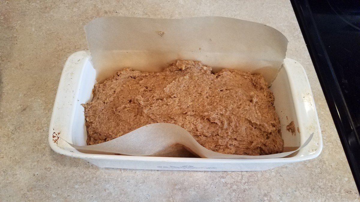 Pour your mixture into your prepared loaf pan.