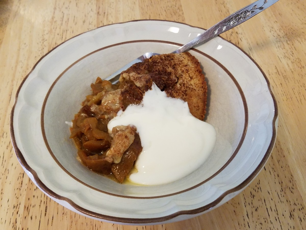 Peach cobbler with vanilla yogurt.