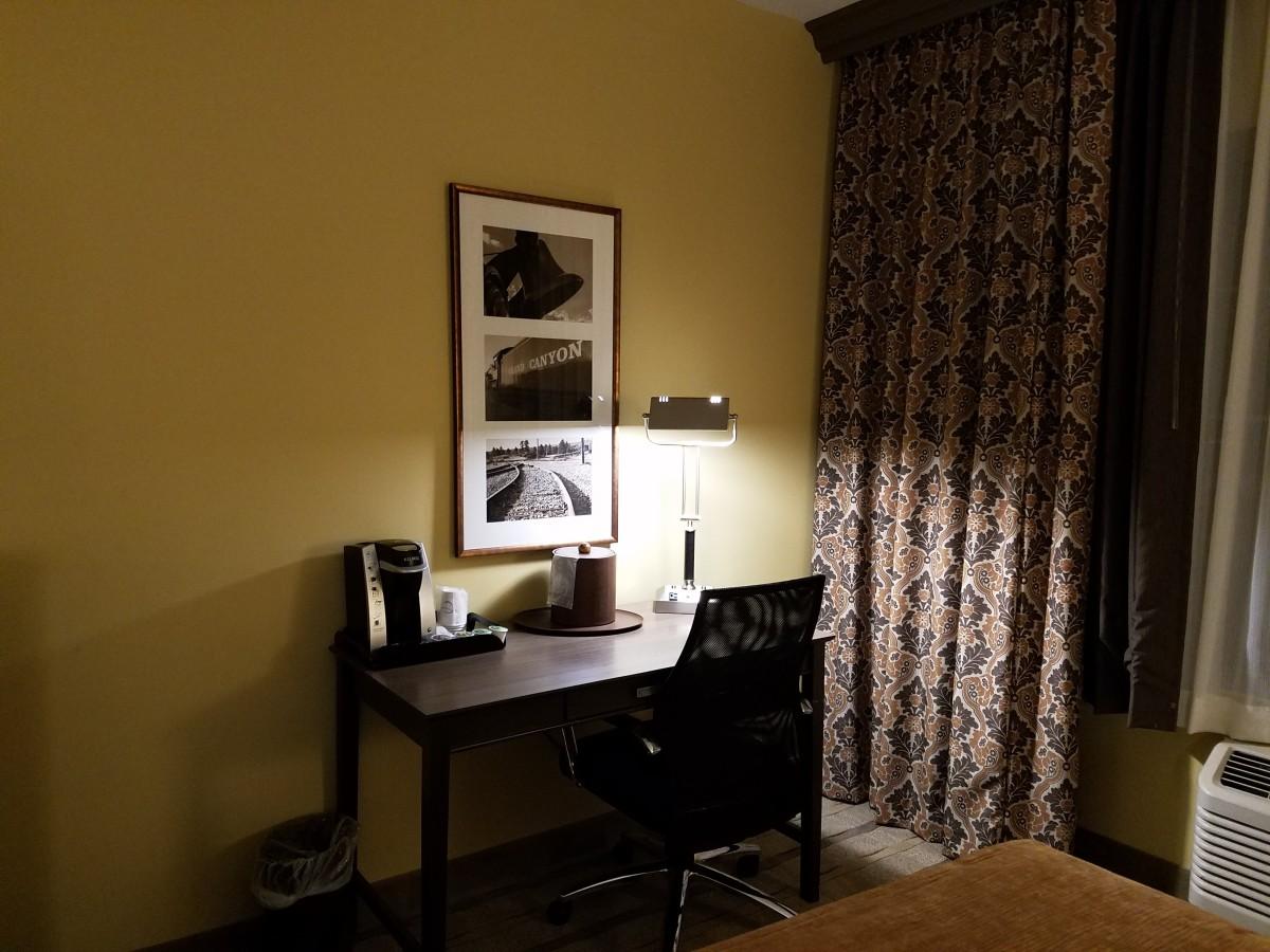 Hotel room desk.