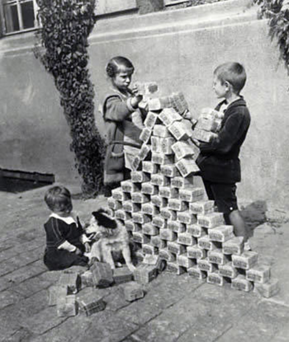 It literally took two or three of these bundles to buy food for a day. It was so worthless that children could play with bundles like blocks!