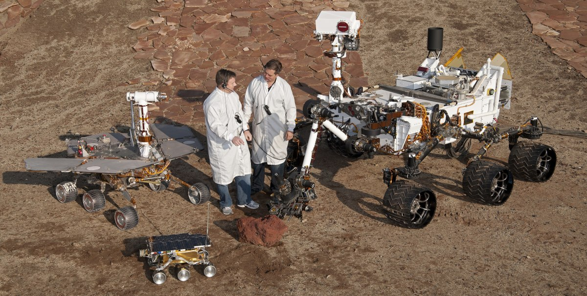 Three generations of Mars rovers at NASA's Mars Yard testing area