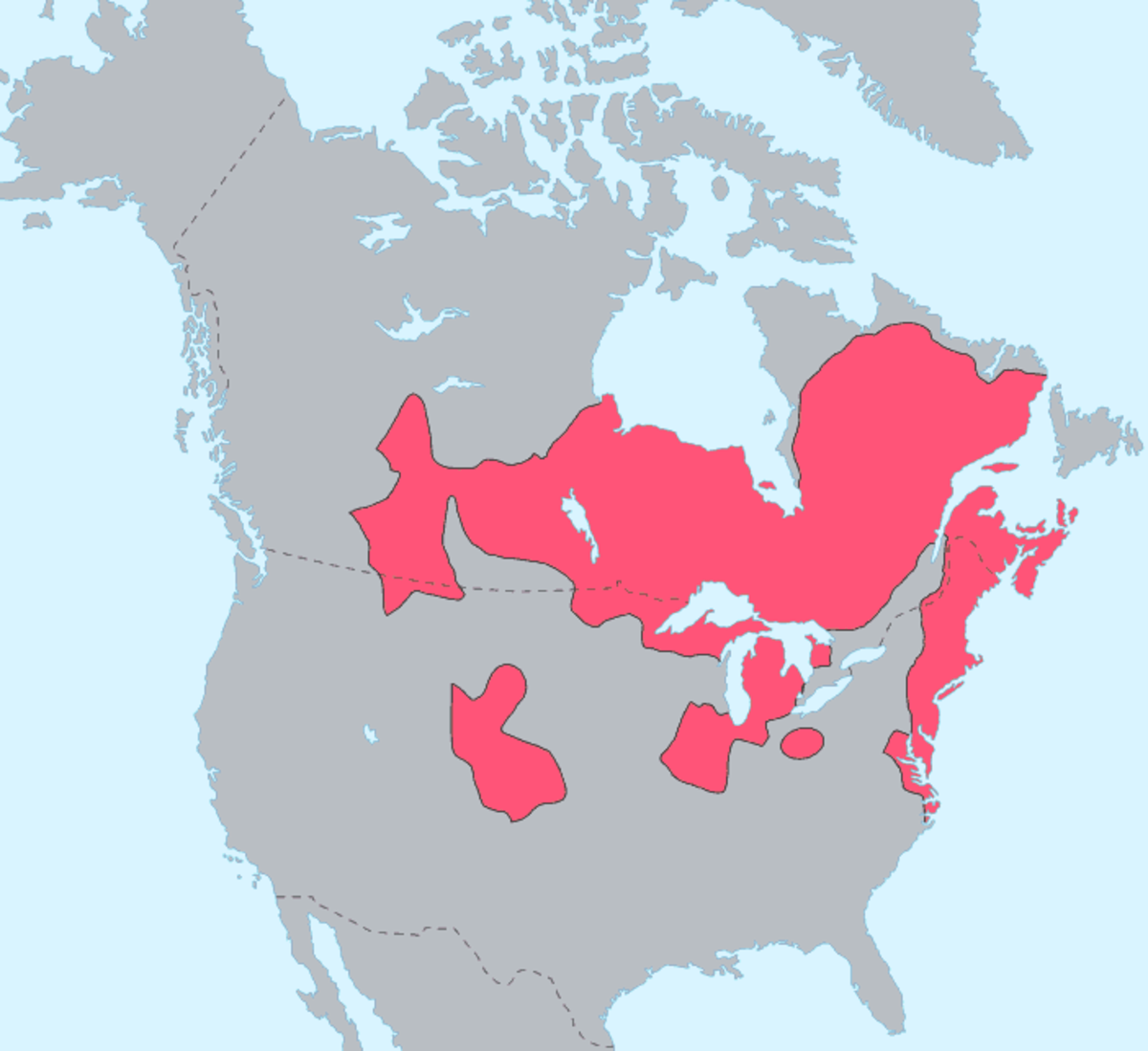 The red areas of the map shows where the Algonquian peoples have resided,
