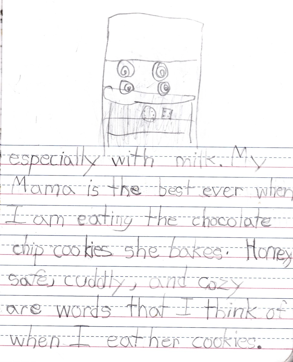 Page 2 of my daughter's journal entry about Chocolate Chip Cookies