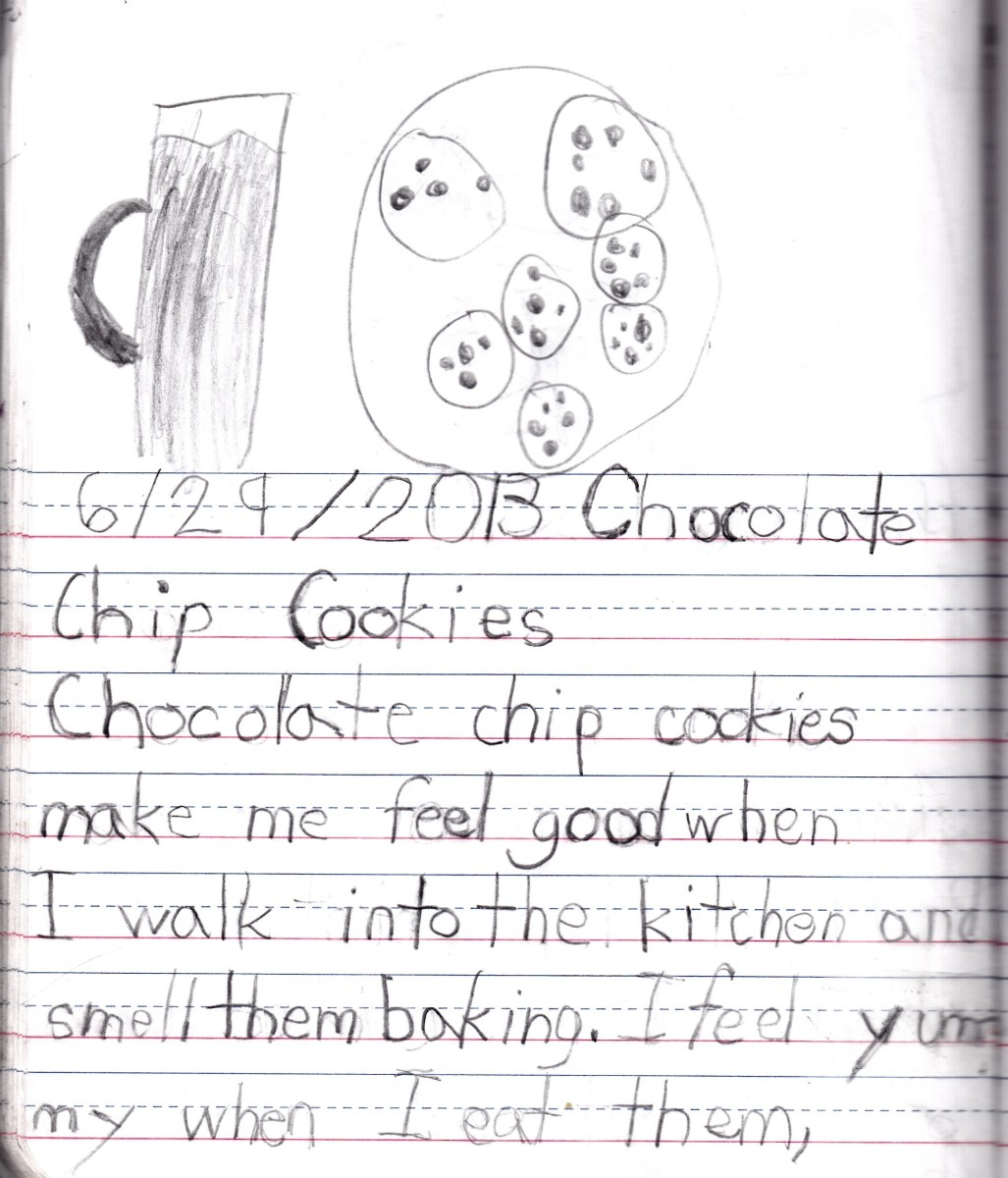 Page 1 of my daughter's journal entry about Chocolate Chip Cookies