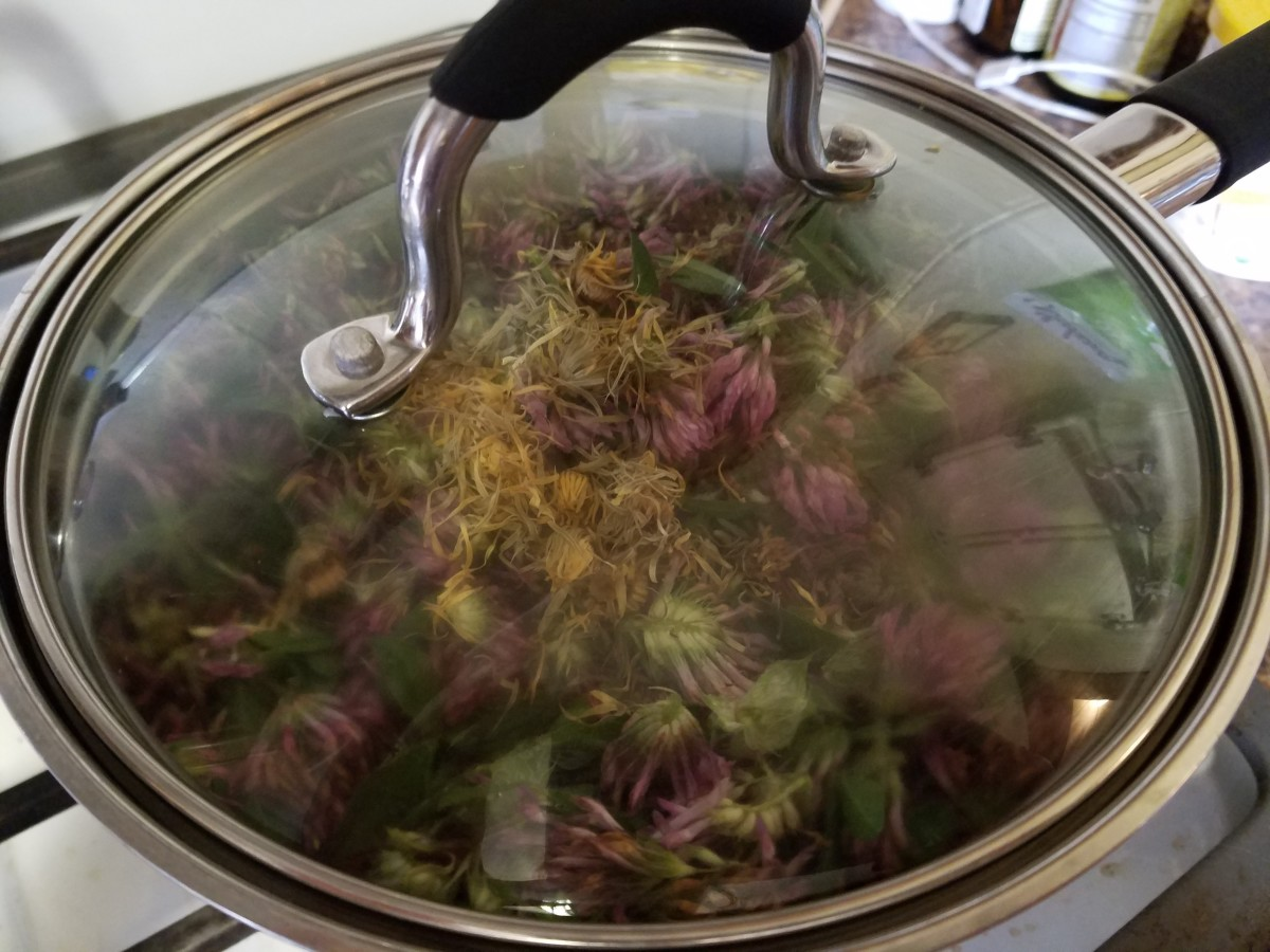 Boil the herbs to extract the healing properties.