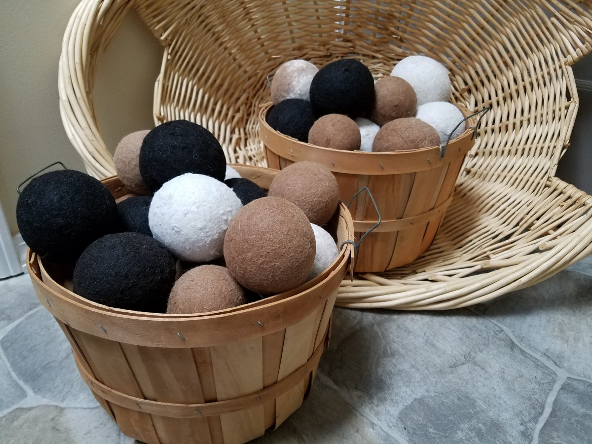 Dryer balls come in many beautiful, natural colors.