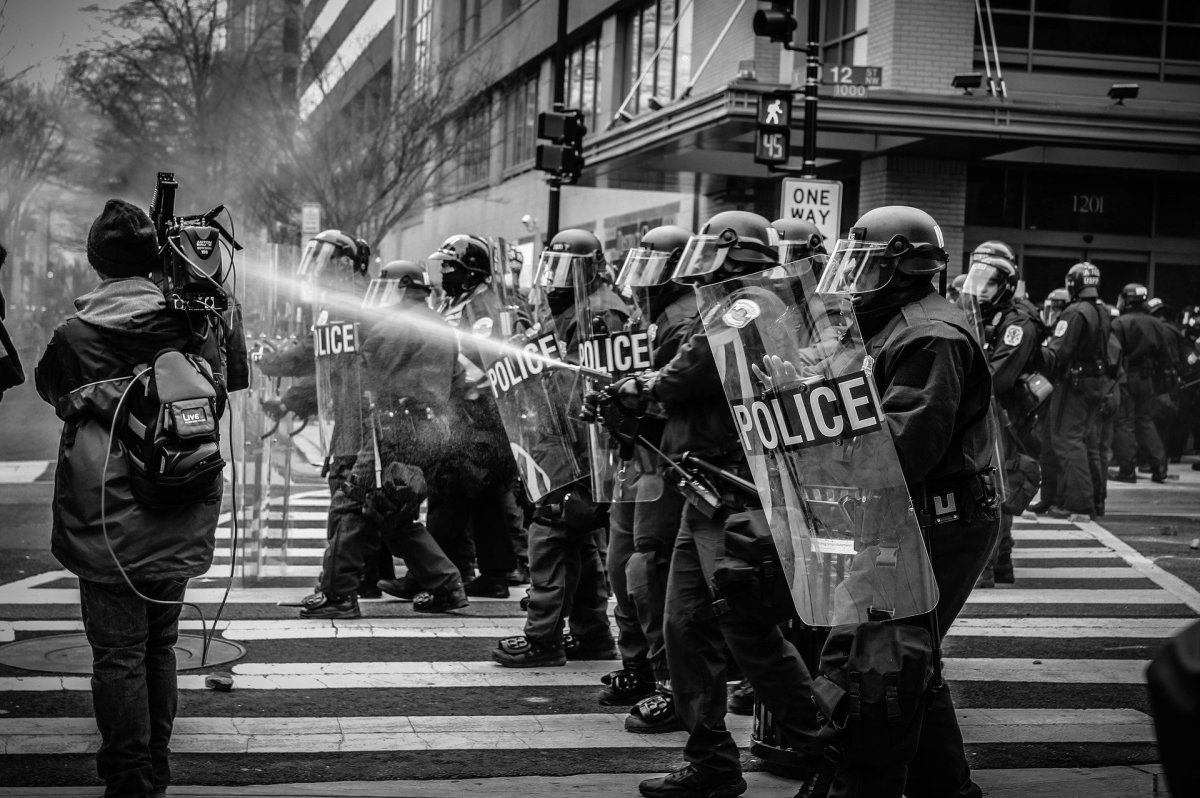Riot gear looks like all-out war.