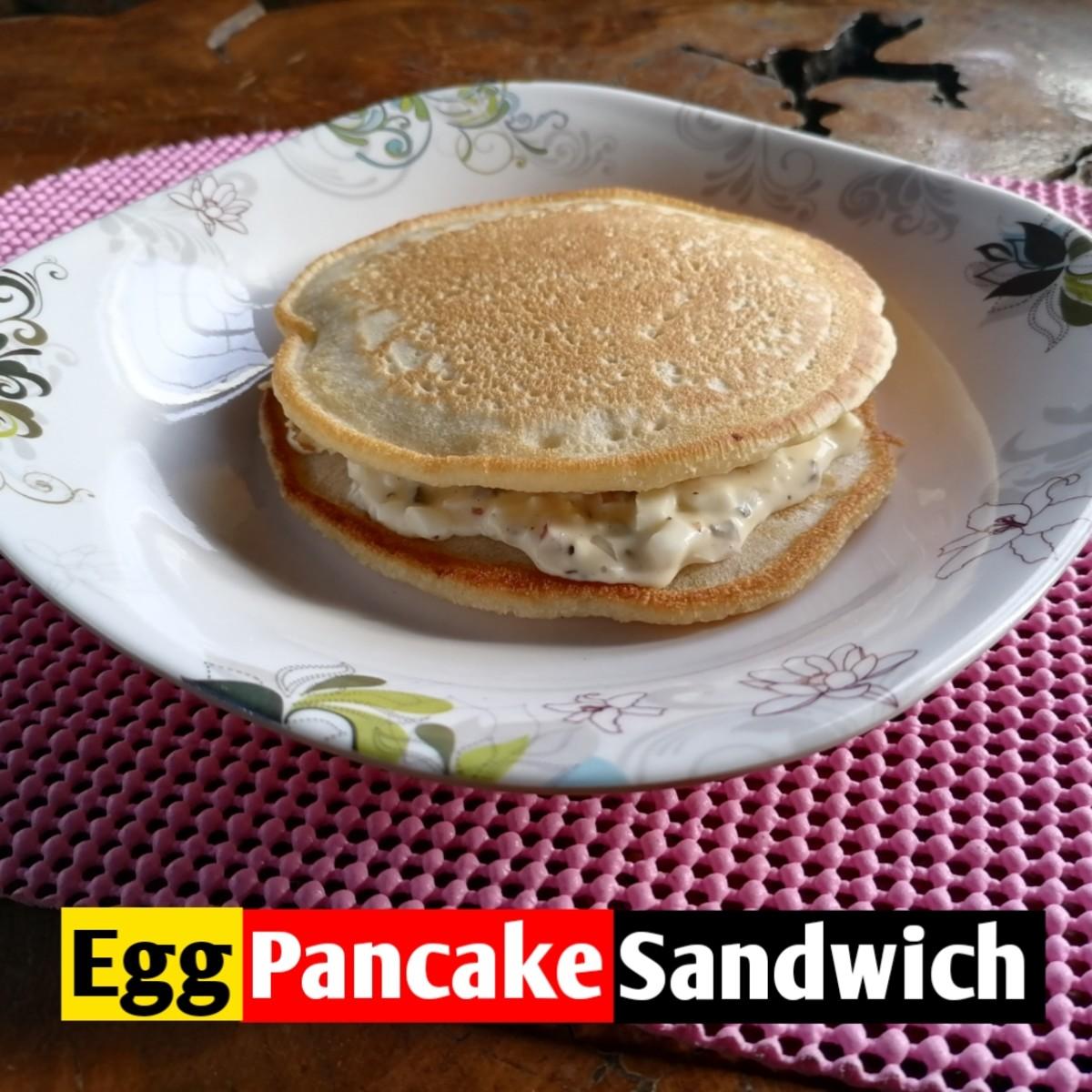 Egg salad pancake sandwich
