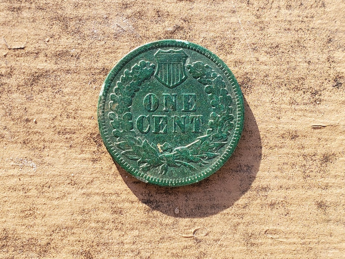The reverse side of an Indian Head cent I found metal detecting.