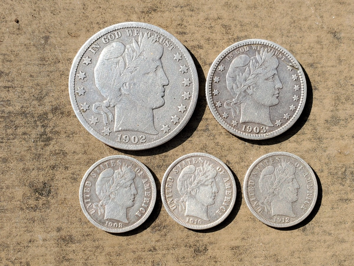 Silver Barber coins I found with my metal detector.