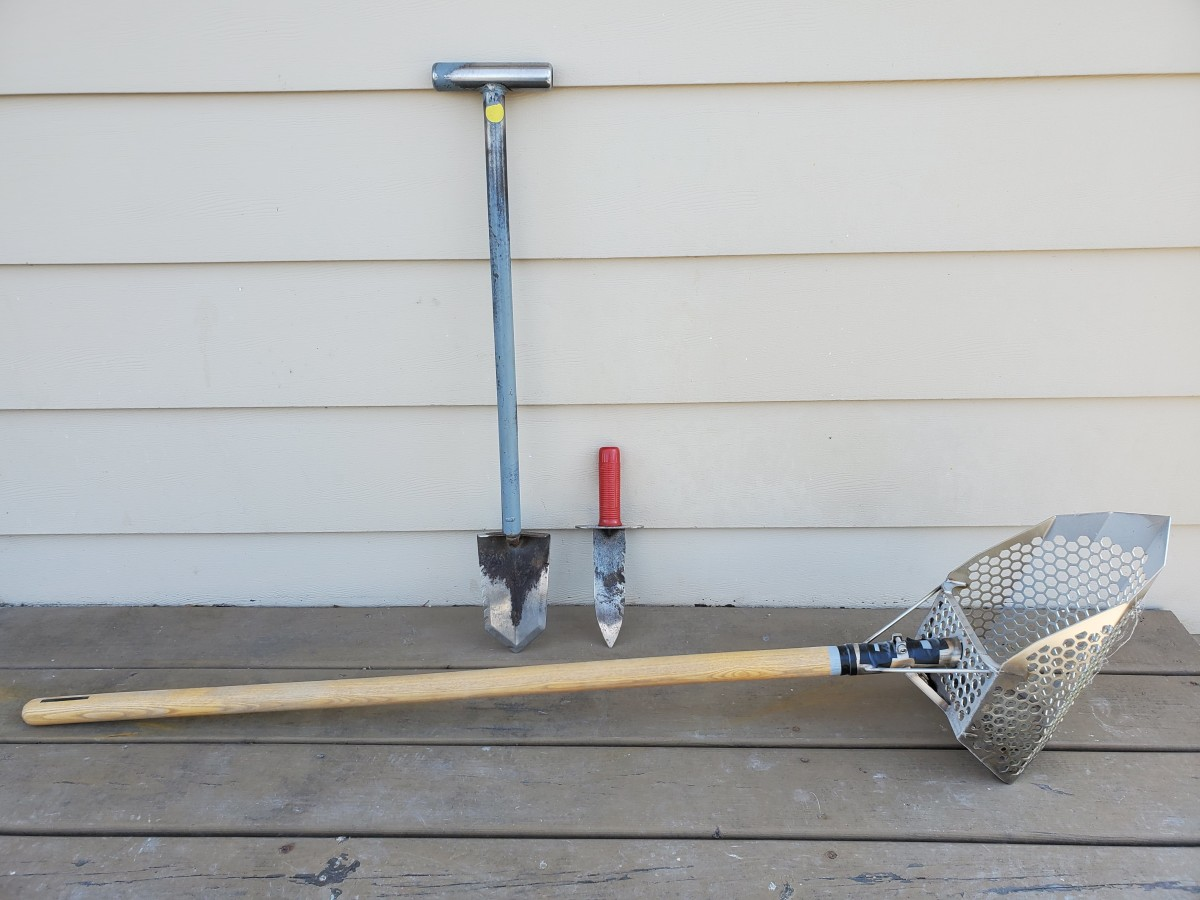 My collection of digging tools I use for metal detecting.