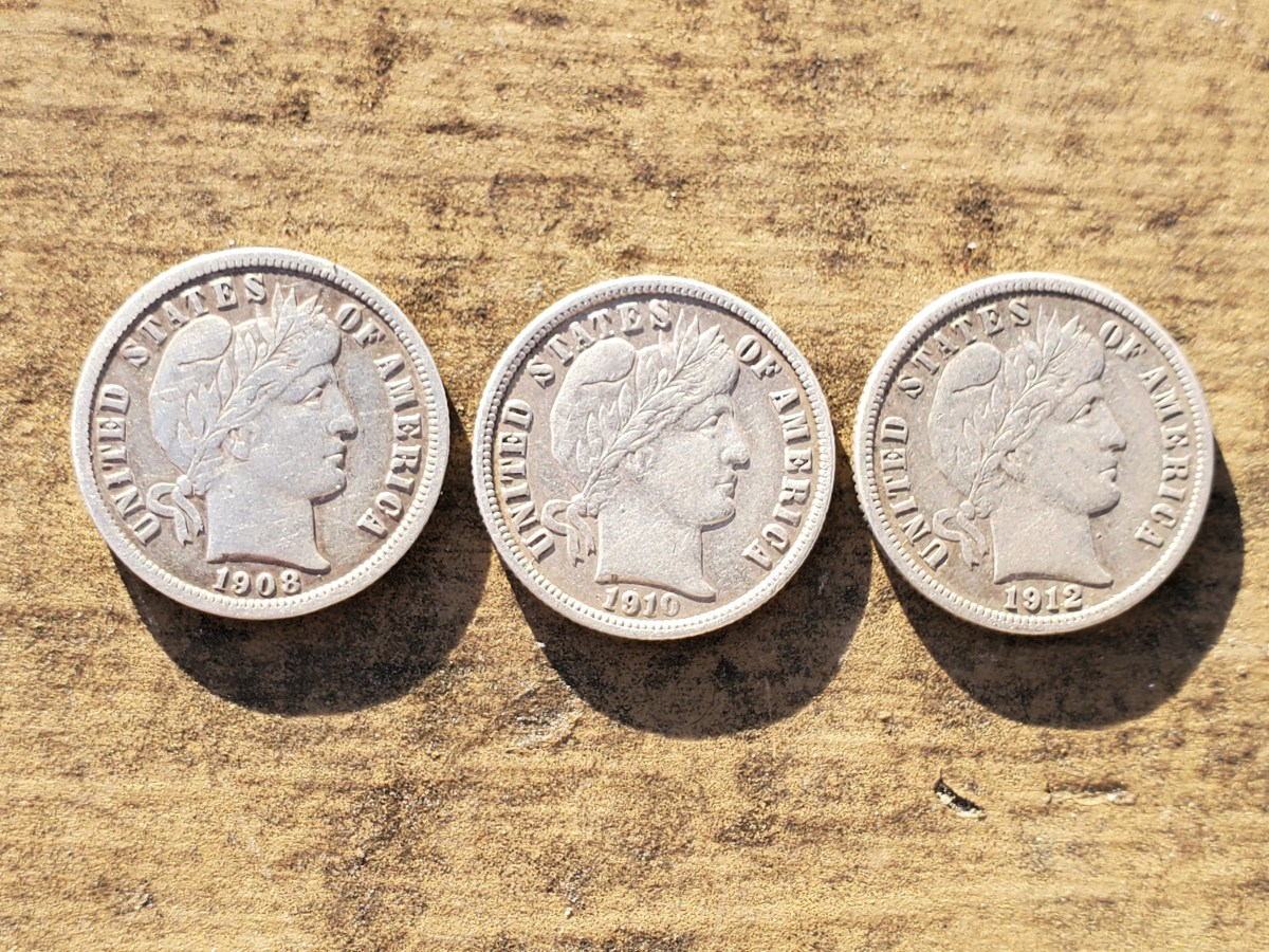 Silver Barber dimes I found metal detecting.