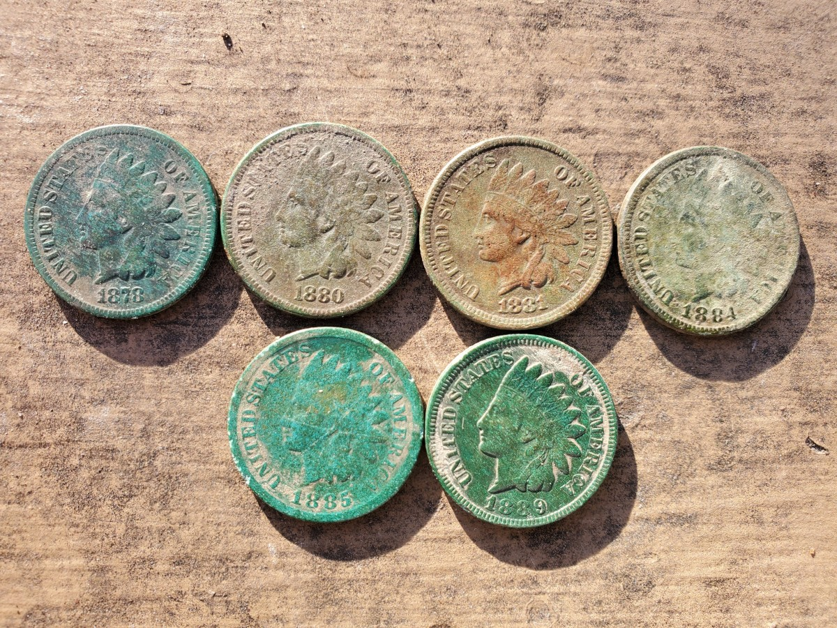 Some of my Indian Head pennies I found metal detecting.