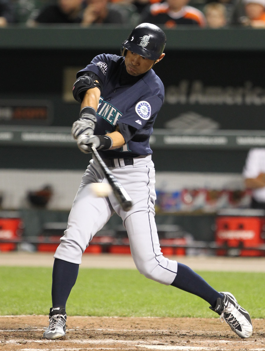 Former Seattle Mariners outfielder Ichiro Suzuki makes contact during a game in 2011.