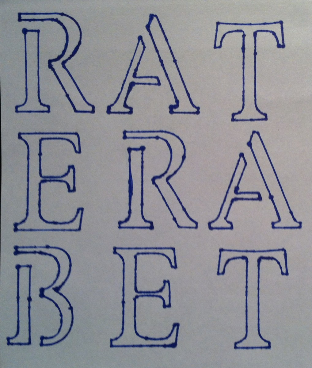 Completed word puzzle. Across words: Rat, Era, Bet.Then the words going down Reb, Are, and Tat.