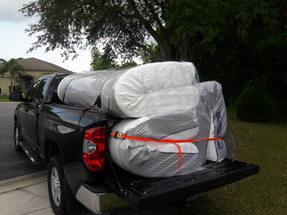 Loaded up and ready to deliver three mattresses to a happy customer.