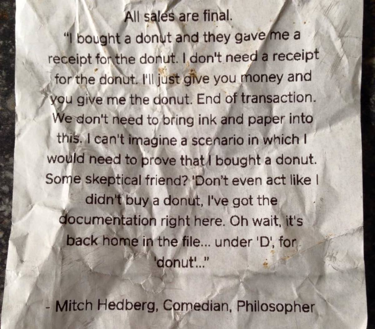 The back of doughnut shop receipt.