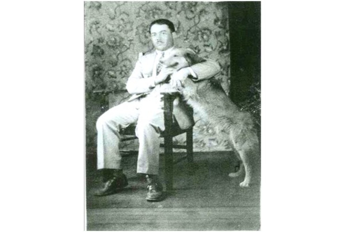Grandpa Charlie around this time period with man's best friend
