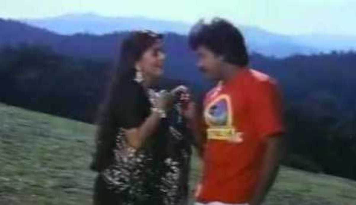 Juhi Chawla and Chiranjeevi in Pratibandh.