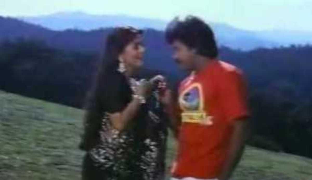 Juhi Chawla and Chiranjeevi in Pratibandh.