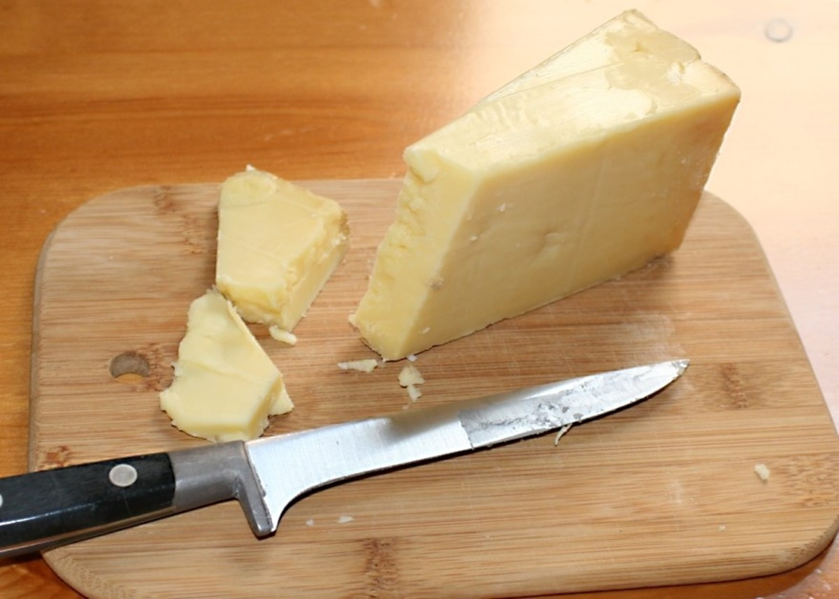 A wedge of Cheddar cheese made in Somerset