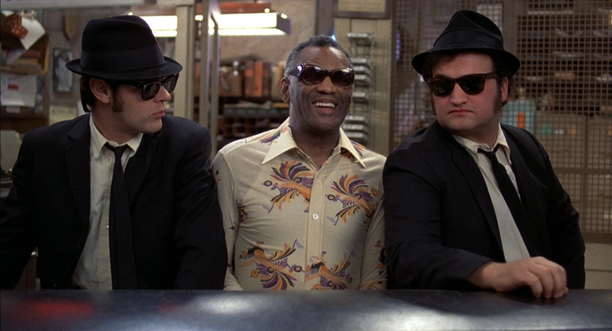 The film is packed with star-studded cameos from the likes of James Brown, John Lee Hooker, Aretha Franklin and Ray Charles (centre), among others.