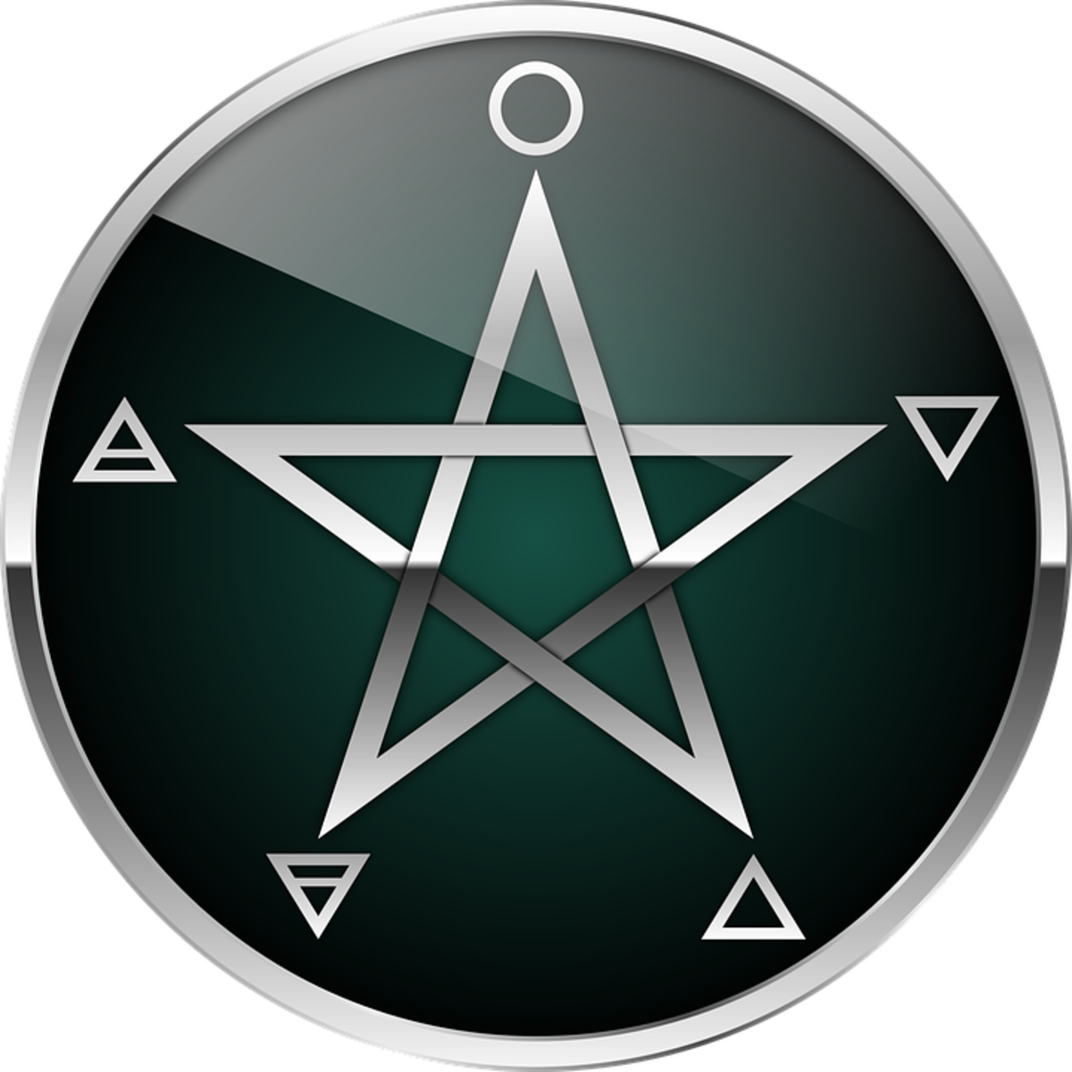 A pentagram, with elemental signs, including Spirit (Aether). The pentagram's elemental attributes are what makes it such a powerful symbol; not only in protection, but in magick and occultism in general