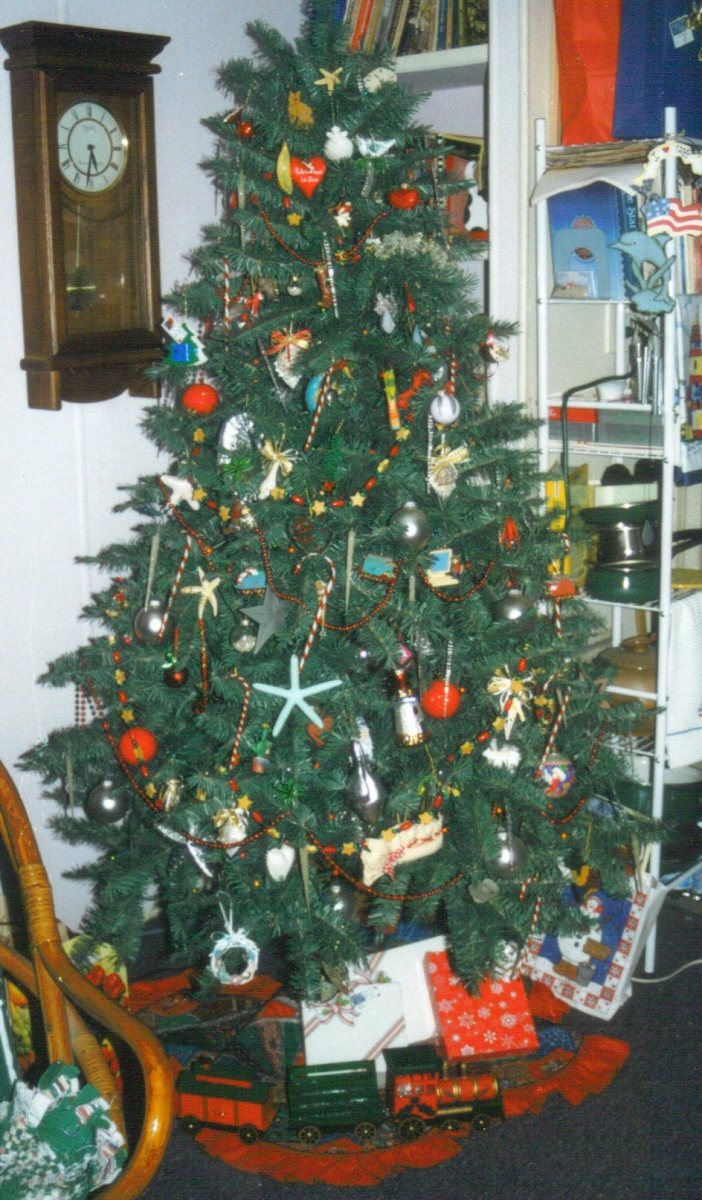 My aunt lived near the coast for over 10 years. Her tree reflected that location with beach themed ornaments. Isn't it a delight!