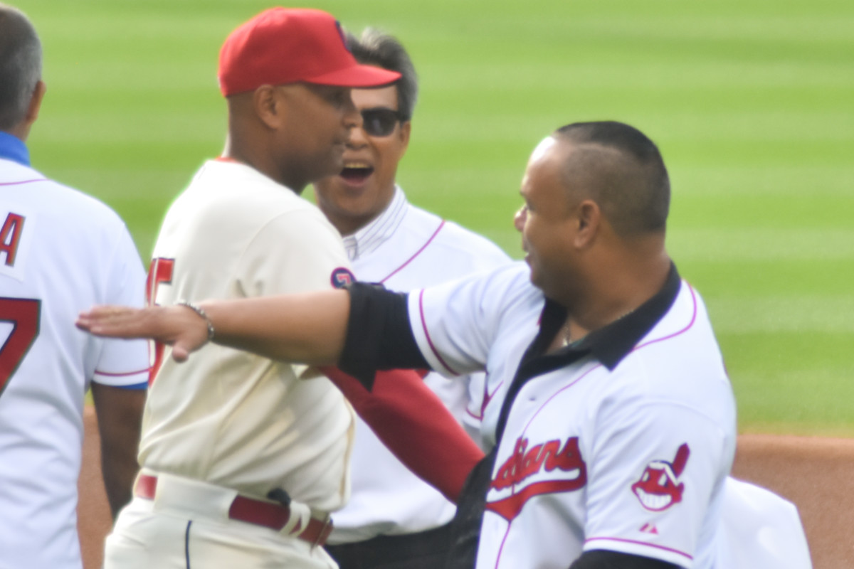 Sandy Alomar Jr. (left) and Carlos Baerga came to Cleveland in the same trade and then helped propel the team to a late 1990s dynasty. They're seen above at a 20th anniversary celebration of the 1995 World Series team.