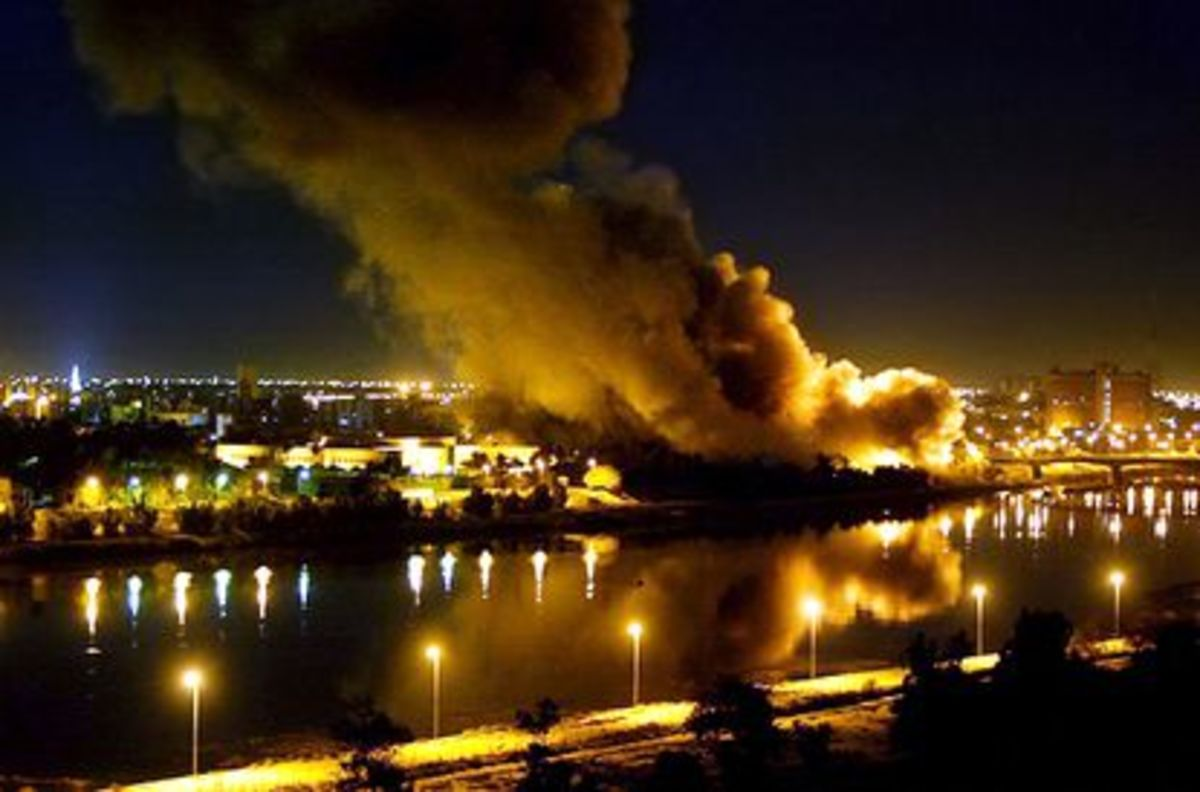 A photo of Baghdad during the aerial bombing campaign