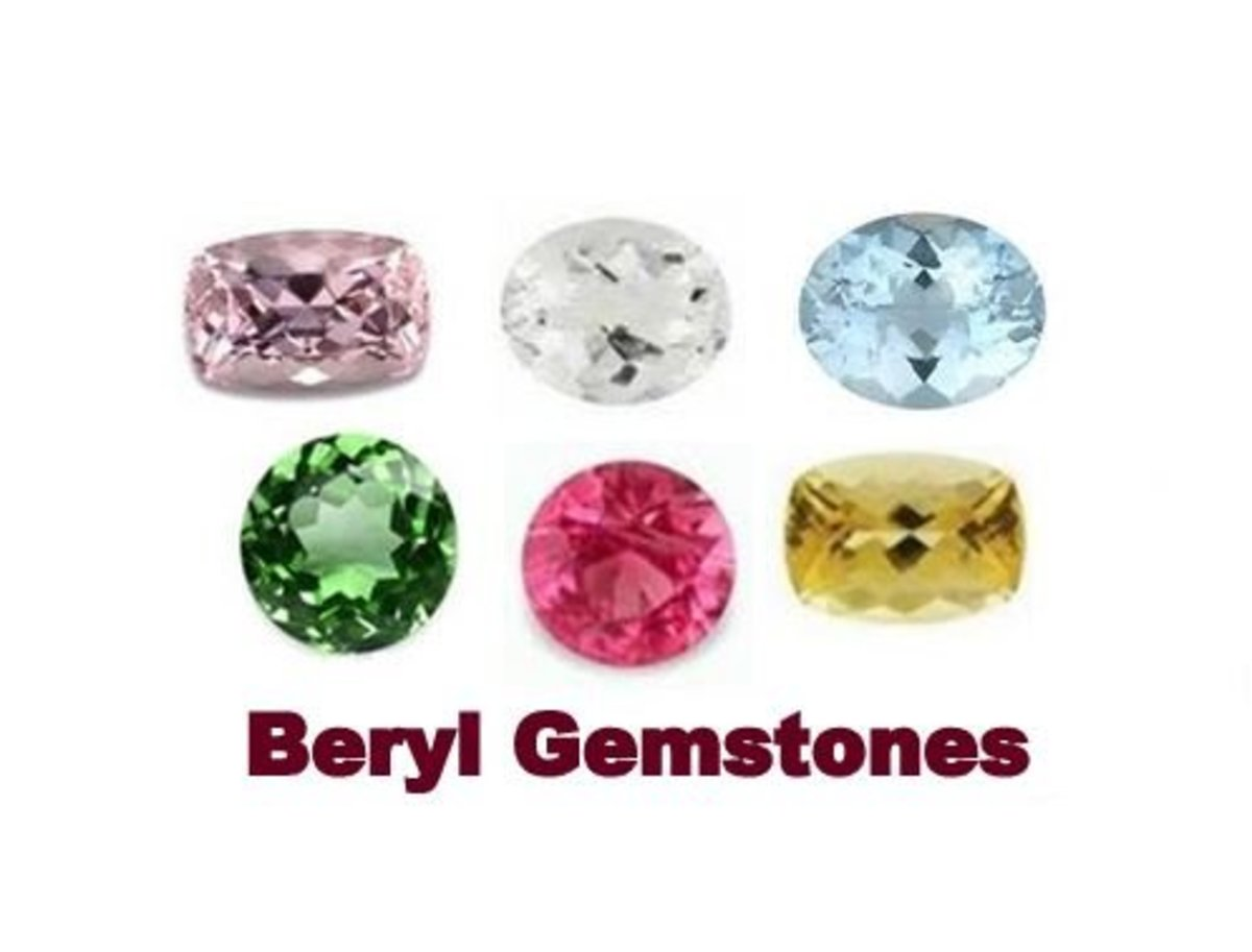 Beryl GemStones : Morganite, Goshenite,  Aquamarine, Emerald, Red Beryl and Heliodor.