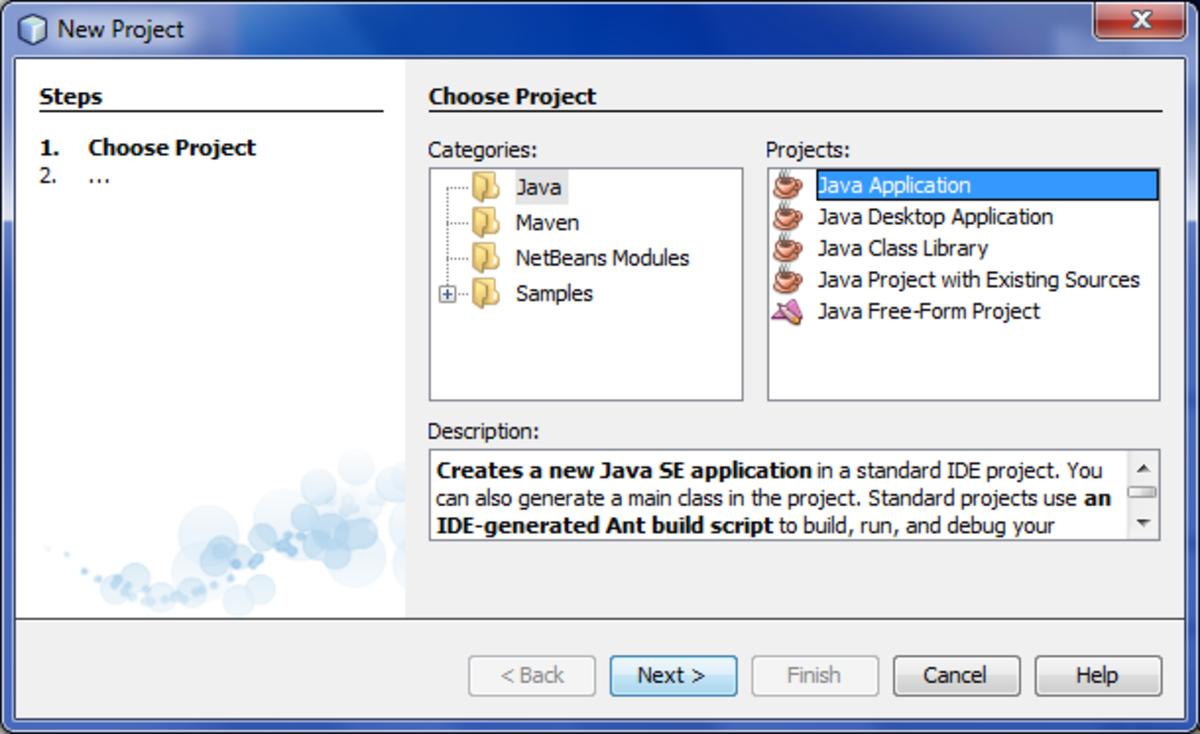 New Java Project window