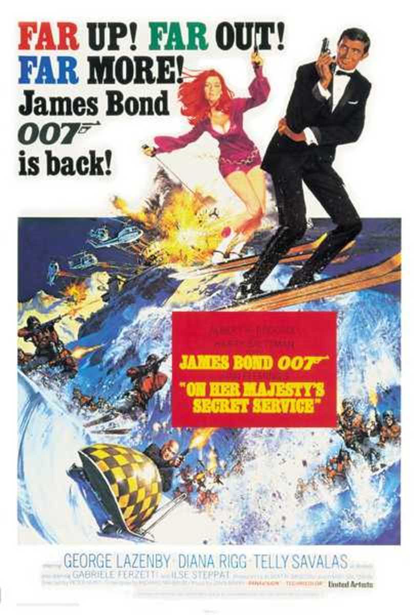 """Movie Poster , George Lazenby 1969 """"On Her Majesty's Secret Service""""."""