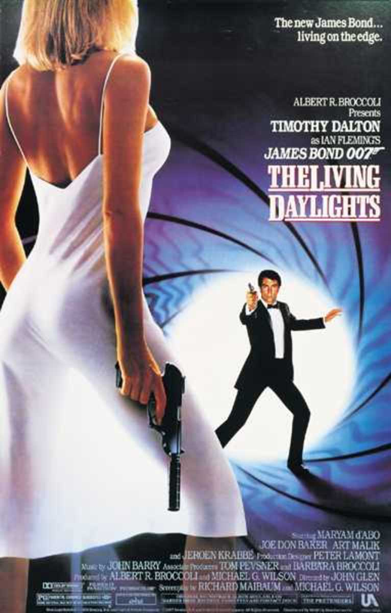 "Movie Poster, Timothy Dalton ""The Living Daylights"" 1987."
