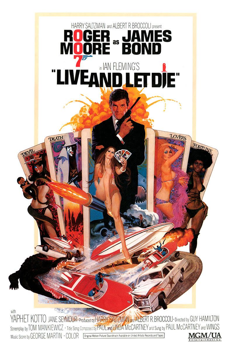"Movie Poster, Roger Moore in ""Live and Let Die"" 1973."