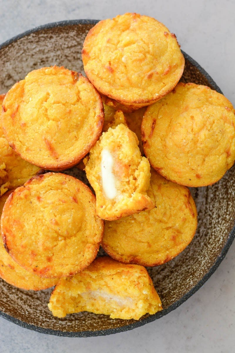 Sweet potato white cheddar cornmeal muffins