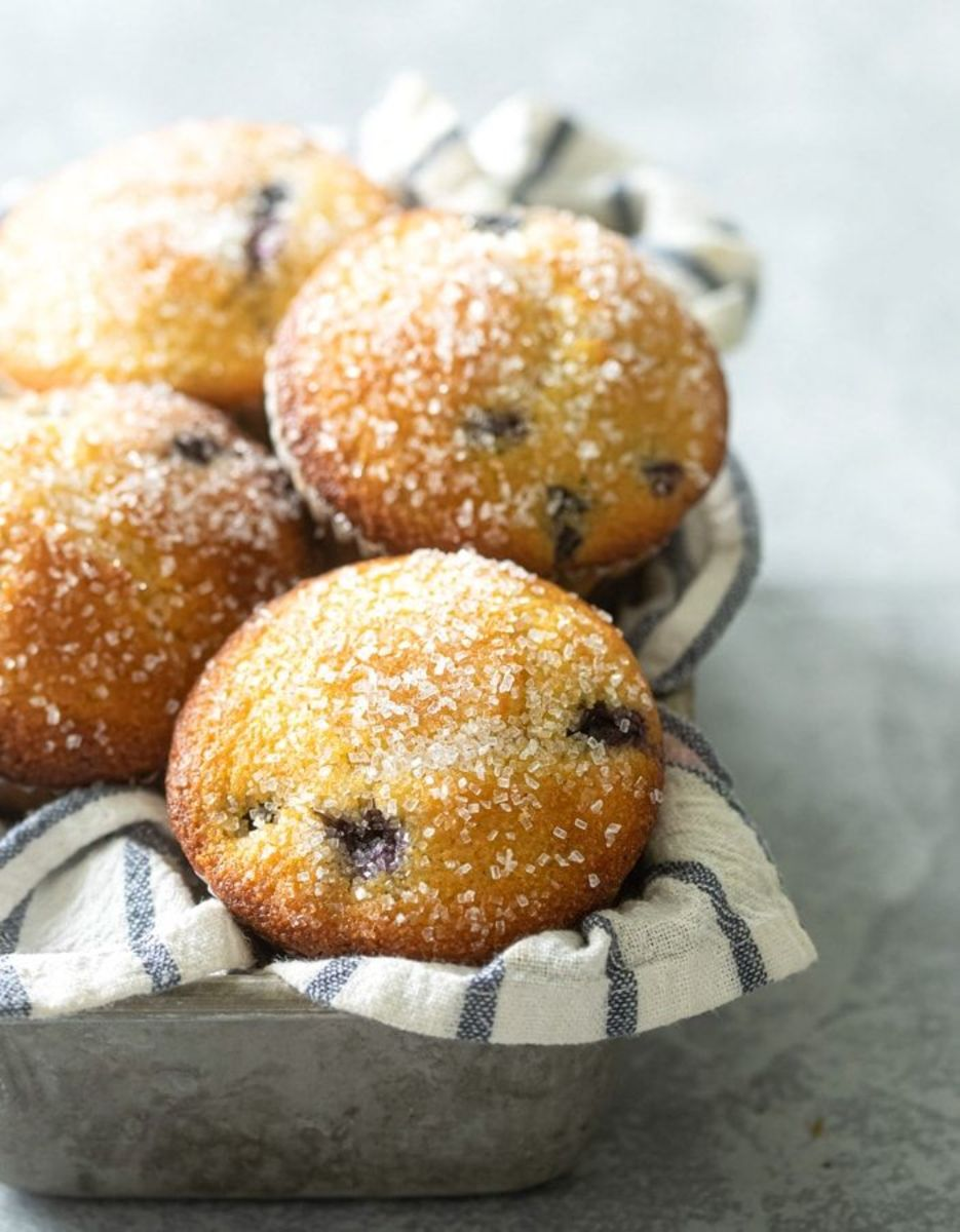 Bakery-style jumbo blueberry corn muffins