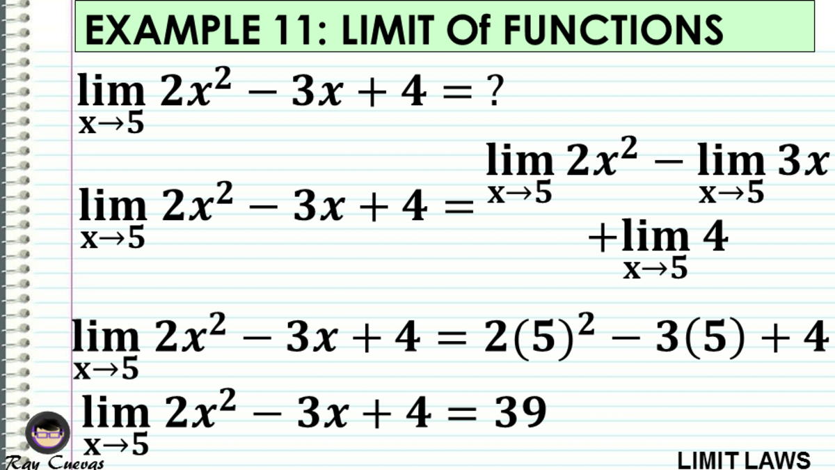 Example 11: Evaluating the Limit of Functions