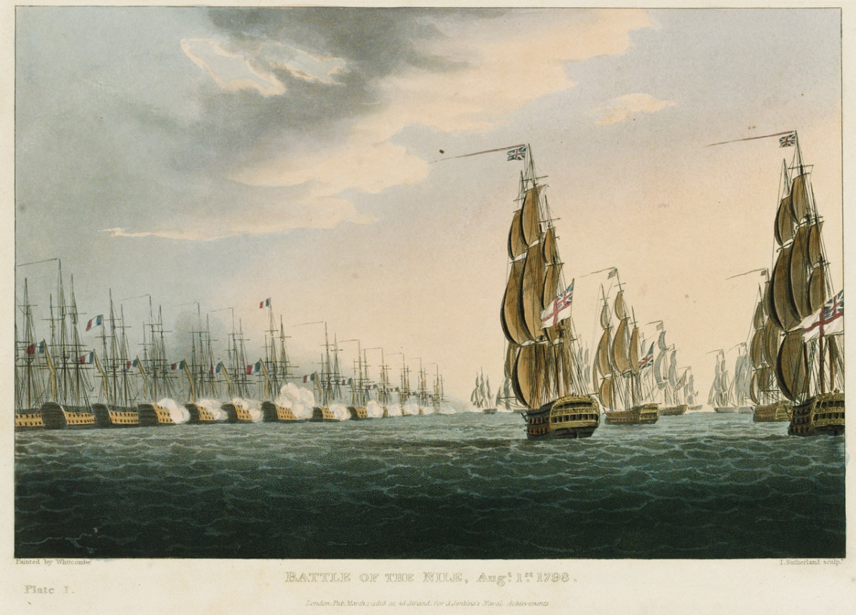 A line of battle: for Mahan, naval war was arbitrated by major naval battles fought by conventional fleets.
