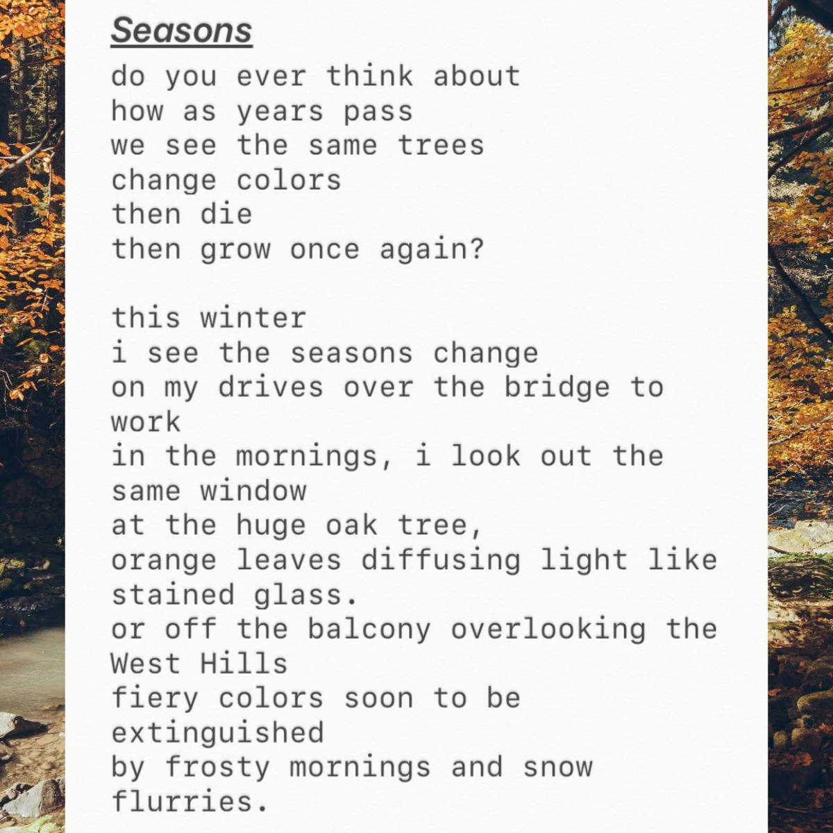 A poem about the transitioning seasons, their cyclical nature, and the feeling of seeing death and rebirth.