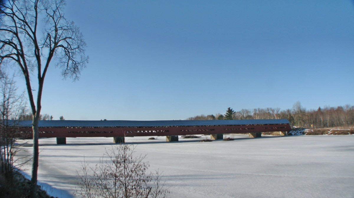 Marchand Bridge, the longest covered bridge in Ouebec