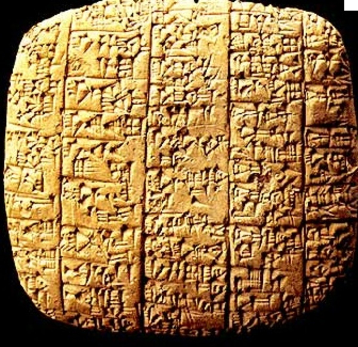 Ebla clay tablet.  Ancient Sumerians used a wedge-shaped, or cuneiform, stylus to make marks in soft clay.  Once dry, the tablet was a permanent record of events or business transactions.