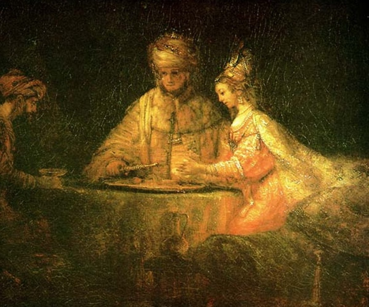 Rembrandt, Haman and Ahasuerus at the banquet with Esther,  c1660