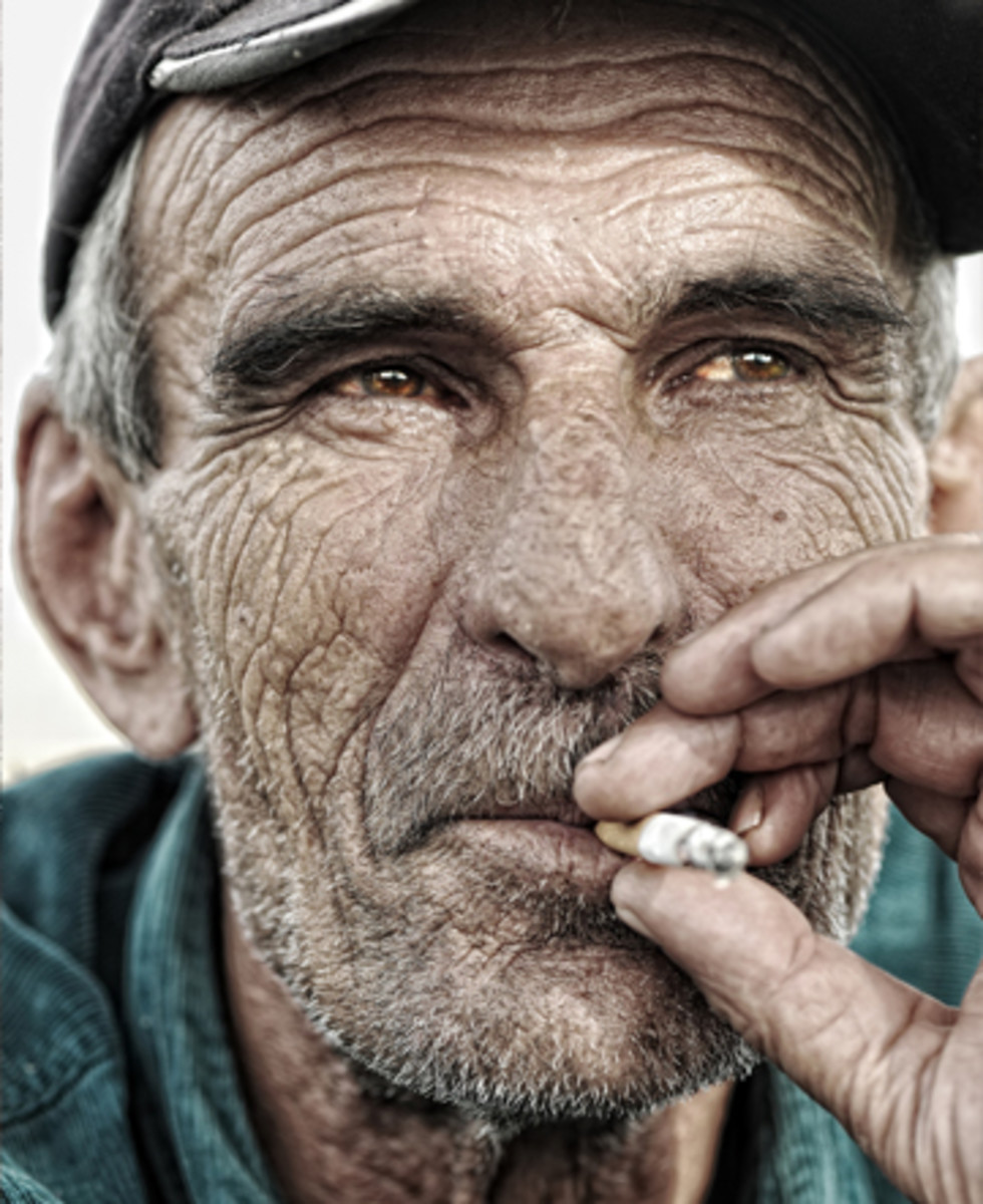 Skin aging from inside with smoking and stress.